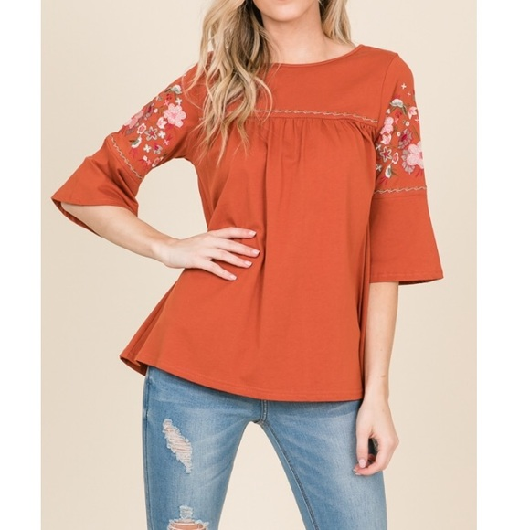 31015878 Annabelle Tops | Just In Brick Floral Embroidery Bell Sleeve Top ...